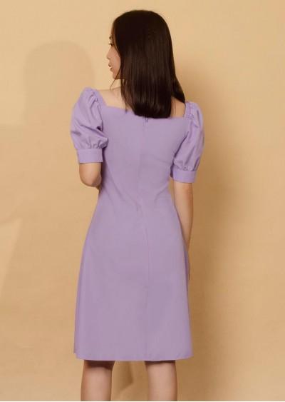 Váy bamboo tay bồng tím V702-G