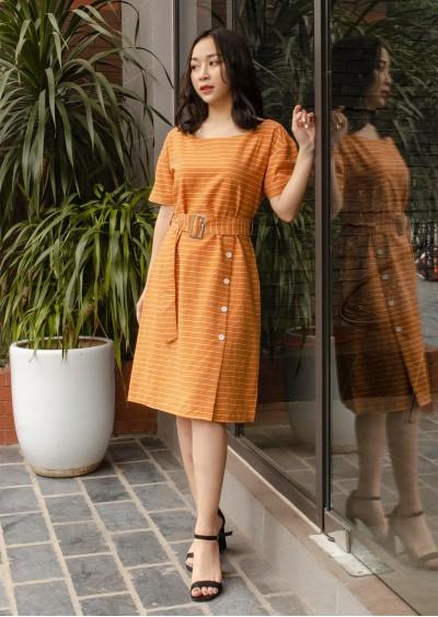Váy kẻ cam đai eo V707