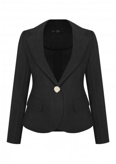 Vest nano đen kẻ ghi B354-G1