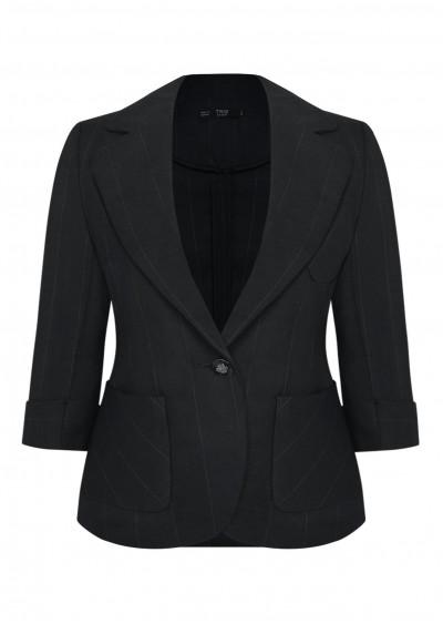 Vest nano túi tròn đen kẻ B364