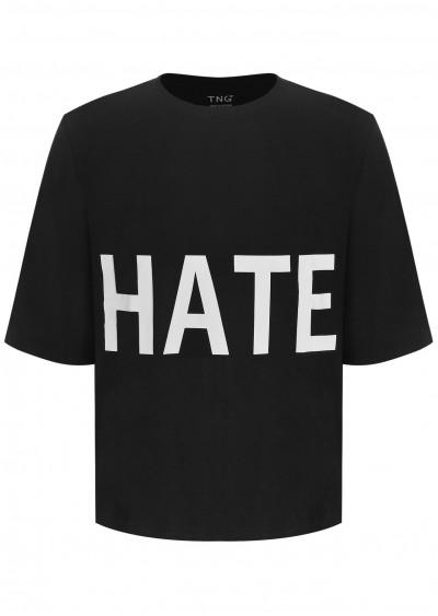Phông nam cotton Hate đen E198