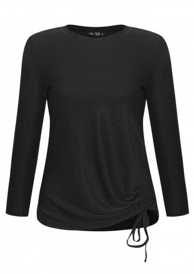Áo thun nhún eo kẻ đen L243-2