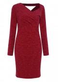 Váy len đỏ cổ lệch L263-2
