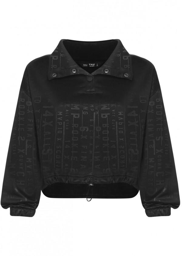 Áo nỉ đen chữ viền vai L270-1