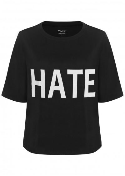 Phông cotton Hate đen P422