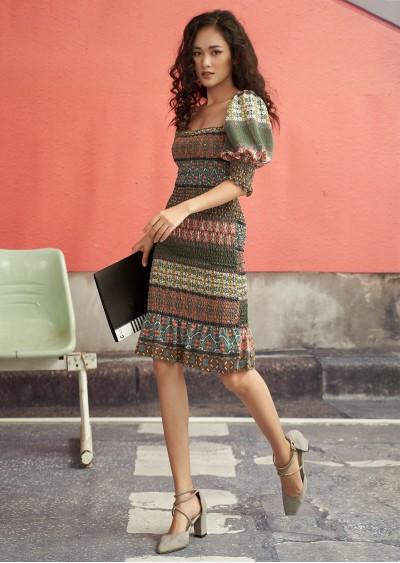 Váy cổ vuông HT thổ cẩm V498-2