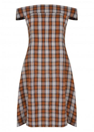 Váy rayon cổ vuông kẻ cam V513-1