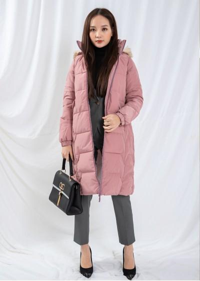 Phao PE mũ lông hồng A946-G