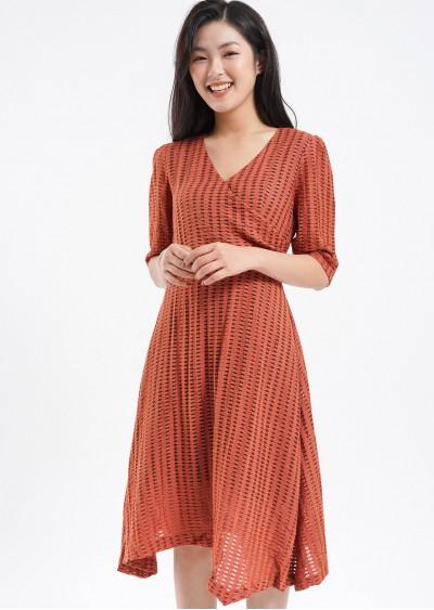 Váy rayon tay bồng ly eo V493-1