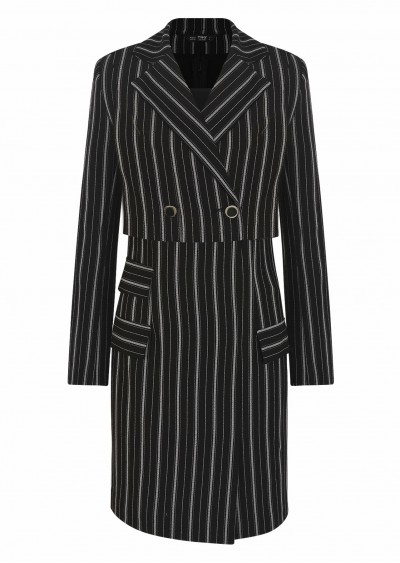 Váy rayon cổ vest đen kẻ V525-1