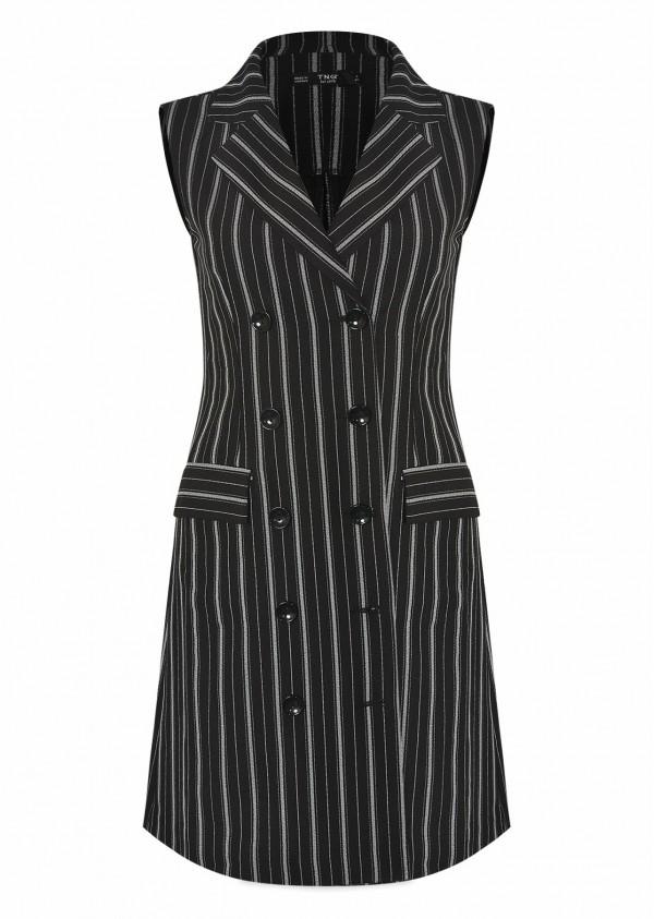 Váy cổ vest rayon kẻ đen V532-1