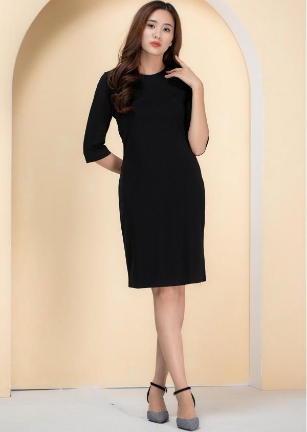 Váy thun tay lửng đen V551G