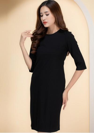 Váy thun tay lửng đen V551-G1