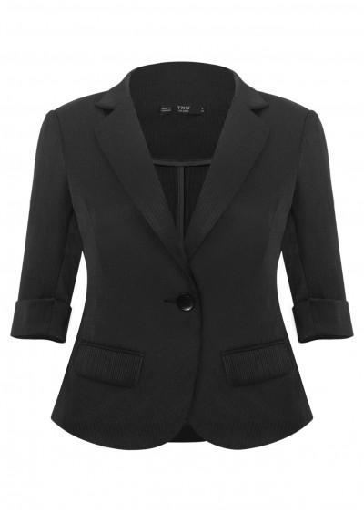 Vest vạt tròn kẻ đen B652