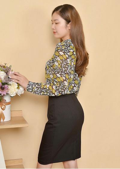 SM chiffon Regular hoa vàng S569