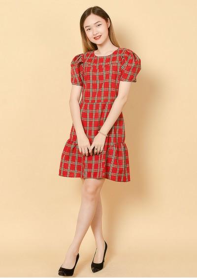 Váy tay bồng kẻ đỏ V732