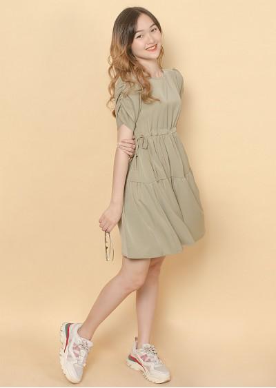 Váy xòe nhún eo xanh V720