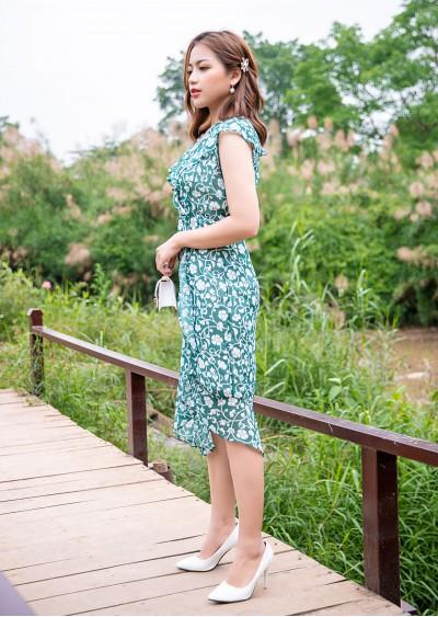 Váy nẹp chéo xanh HT V723