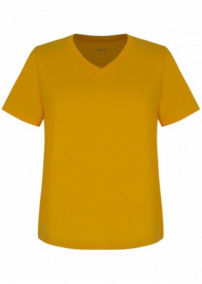 Phông cotton cổ tim vàng P618
