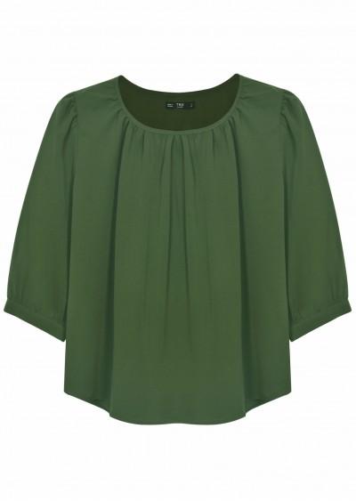 Áo chiffon xanh rêu C346