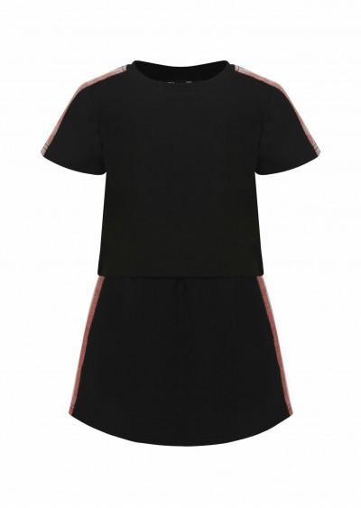 Bộ cotton BG sọc màu đen K230-1
