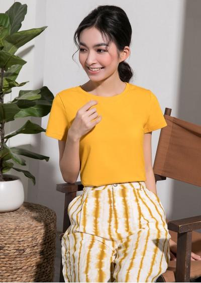 Phông cotton basic vàng P627