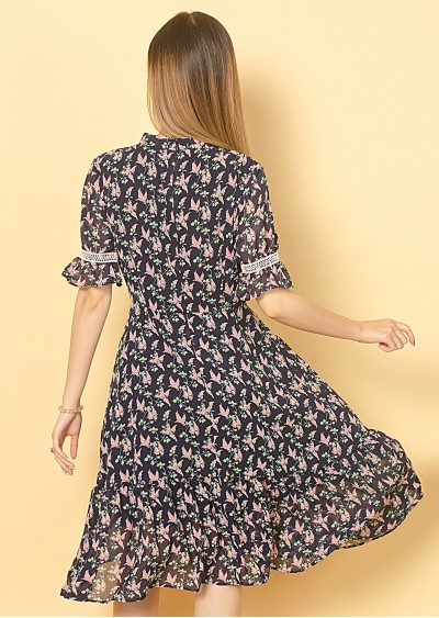 Váy xòe nơ cổ V718