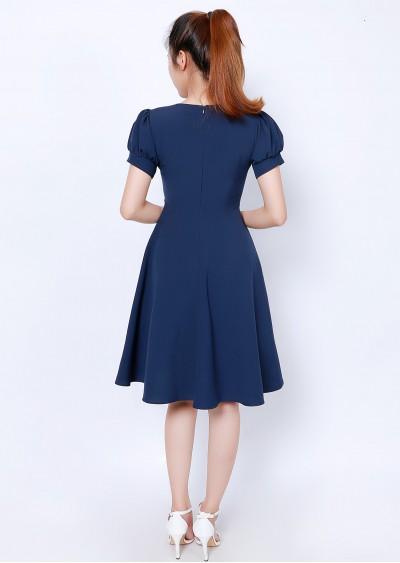 Váy cổ tim xanh TT V743