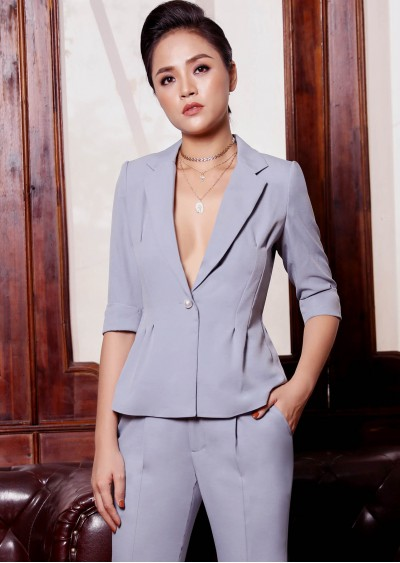Vest nhún lưng xanh xám B248-1