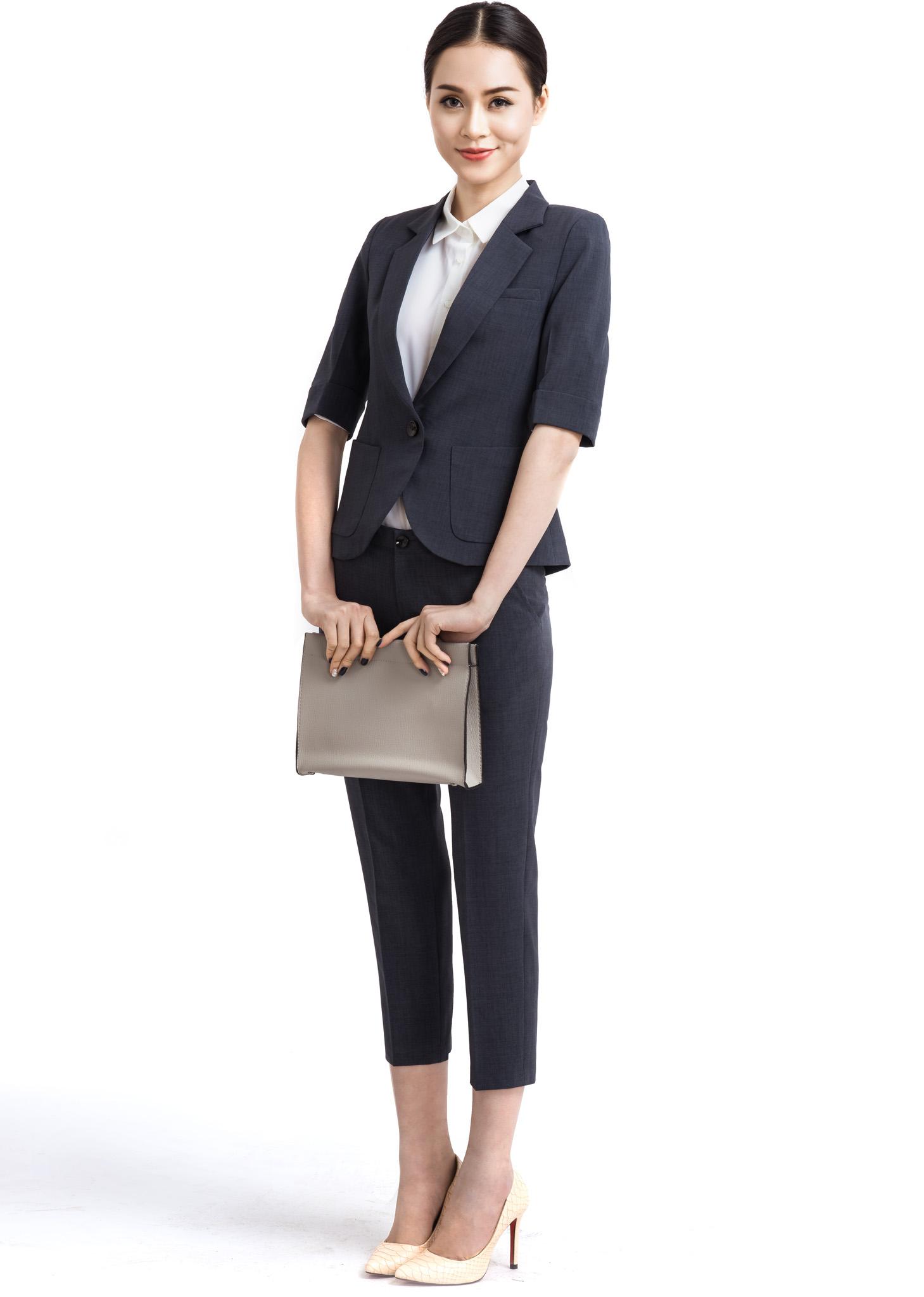 Bộ áo vest túi tròn TNG762 - Quần vest lửng TNG1308